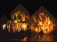 Halloween house on fire with special projections. Great effects.