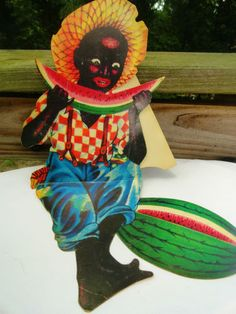 VTG 1950s retro Black Americana Water Melon Boy Advertising Paper Art Stand