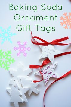 Baking Soda Ornaments and Gift Tags - a simple christmas craft for kids to make and personalize gifts. holiday craft for kids