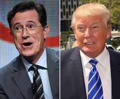 """""""I would dare him to come on the show,"""" Stephen Colbert (l.) said about Donald Trump during a Tuesday interview with Howard Stern. Talk about """"must see TV""""!  I'd PAY to see this!"""