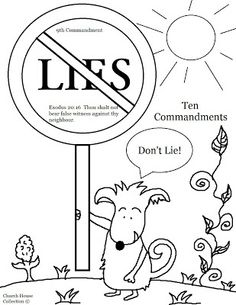 """Church House Collection Blog: Thou Shalt Not Lie Coloring Page For Ten Commandments """"Thou Shalt Not Bear False Witness Against Thy Neighbor"""""""