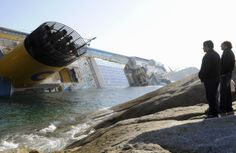 The view from shore of the Costa Concordia