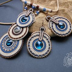 Anastasia Plotnikova Soutache Pendant, Soutache Necklace, Ring Necklace, Tassel Earrings, Earrings Handmade, Handmade Jewelry, Fabric Origami, Black Earrings, Bohemian Jewelry