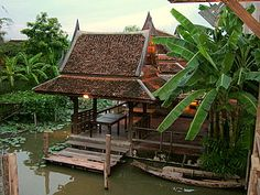 Traditional Thai houses – old Thai houses in Bangkok on canal. Buy this in Sydney on the water and it would cost millions!!