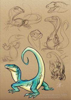 The lizard of my dreams by marimoreno on DeviantArt Animal Sketches, Animal Drawings, Drawing Sketches, Cartoon Drawings, Cartoon Art, Cute Drawings, Dinosaur Drawing, Dinosaur Art, Pet Anime