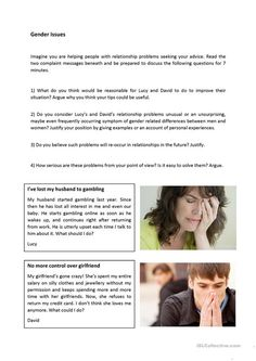 This worksheet aims at testing students' oral productive skills on the topic Gender Issues, Relationship Problems, Helping People, Thinking Of You, Advice, This Or That Questions, Thinking About You