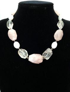 Chunky Rose quartz, rock crystal and shell pearl gemstone choker necklace - Michela Rae