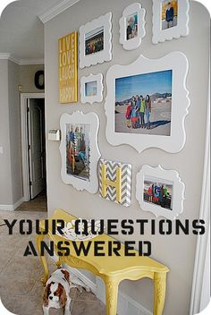 Family Picture Gallery Wall questions - Tips and Tricks to creating a bright, and happy family gallery wall without using nails. Family Pictures On Wall, Family Photos, Hang Pictures, Family Wall, Owl Pictures, Arrange Pictures, Hallway Pictures, Family Family, Happy Family