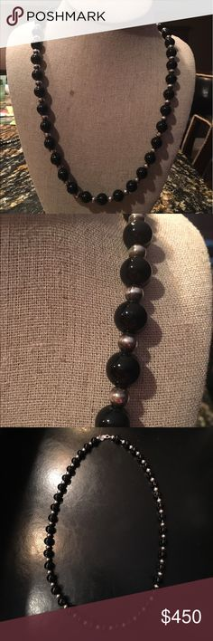 """Tiffany and Co SS and Onyx Bead necklace 26"""" Classic and classy. 26"""" necklace of 10mm Onyx beads separated by sterling silver beads strung on a silver chain. Tiffany & Co. Jewelry Necklaces"""