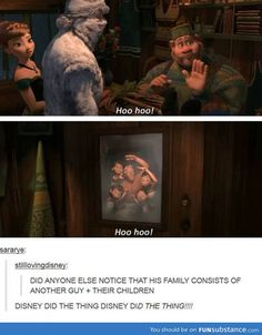 Did Disney create a gay couple? - Frozen memes---- Glad I'm not the only one who noticed! Disney Love, Disney Magic, Disney Frozen, Disney Stuff, Oaken Frozen, Real Frozen, Frozen Heart, Disney Family, Disney And Dreamworks