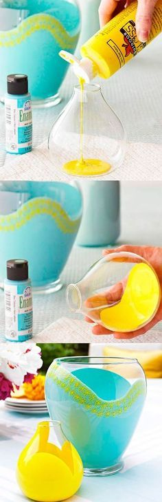 Gestaltet eure Vasen ganz einfach bunter ♥ Füllt Glassmalfarbe in eine Vase und bewegt diese hin und her, bis ein schönes Muster entsteht. Lasst die Farbe aus der Vase laufen und trocknet sie für etwa 4 Stunden. Anschließend wird die Farbe bei 160Grad 90 Minuten lang im Ofen eingebrannt. Wer Mag kann natürlich noch Muster auf die Vase malen :)