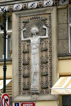 Art Deco relief in Prague.