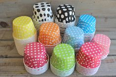 Polka Dot Candy/Baking Cups- You Pick Your Color. $4.25, via Etsy. Perfect for truffles or meringues. :) next year!