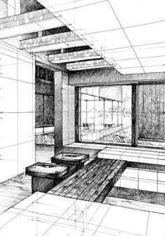Drawing by Studio Rysunku Koletek Perspective Sketch, Point Perspective, Mandala Doodle, Interior Design Sketches, City Painting, Ink Illustrations, Art Sketchbook, Studio, Line Drawing