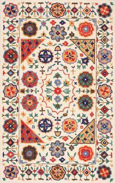Tikal Floral Border Hand made Woolen AH01 Rug