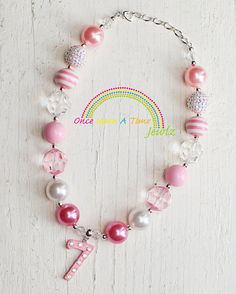 Birthday Age Necklace.... Chunky Bubblegum Beads Girls Necklace with Rhinestone Number Charm on Etsy, $22.00