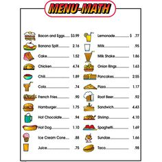 Remedia Publications Real Life Math Series: Menu Math For Beginners Set Of 6 Extra Price Lists Worksheets For Kids, Math Worksheets, Printable Worksheets, Free Printable, Printables, Math Games, Math Activities, Math 2, Fun Math