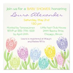 Spring Tulips - Baby Shower Invitation Pretty spring lacy style tulips decorate this invitation. Easy to customize. Great for any gender. Original illustration by pj_design. Fun baby shower invites - customize your invitations. Unique Baby Shower, Baby Shower Fun, Baby Shower Cards, Baby Shower Parties, Fun Baby, Vintage Invitations, Zazzle Invitations, Baby Shower Invitations, Party Invitations