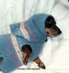 Dachshund dog snood soft warm Fair Isle wool blend blue green embroidered beaded. $13.00, via Etsy.
