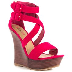 JustFab - Saffron  Price: $55  Sultry and sculpted Saffron's sexy silhouette is such a must! Her 6 inch wedge features a dark wood wrap with a faux suede upper and two adjustable ankle buckles. A 2 inch platform completes the look.