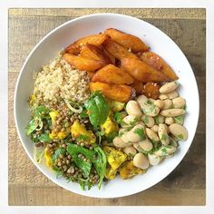 2015Introducing our maple sweet potato bowl  A bowl of goodness filled with Smoked Paprika & Maple Sweet Potatoes, Garlic & Herb Butter Beans, Turmeric Roasted Cauliflower, Lentil & Tahini Salad and Lemon & Olive Oil Dressed Quinoa