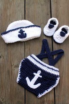 Sailor/Nautical Baby photo prop set Sailor/Nautical Baby Outfits and Photo Prop Sets por EmiJessCrochet Baby Outfits, Sailor Outfits, Sailor Dress, Crochet Baby Clothes, Cute Baby Clothes, Baby Patterns, Crochet Patterns, Baby Kostüm, Baby Newborn