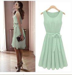 Vintage Womens Bow Waist-tie Embellished Dress Mint Green Knee Length Skirt on eBay!