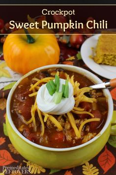 This Crockpot Sweet Pumpkin Chili isn't your typical chili recipe. Pumpkin puree and brown sugar add a sweetness you will enjoy with every bowl.