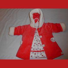 ensemble bébé fille  manteau + robe orangé