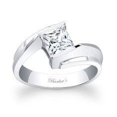 Solitaire Diamond Ring - 7846LW - A modern twist on a vintage bypass ring this solitaire engagement ring is a dazzler.  The channel set princess cut diamond center is captured in the split, stepped ridges of the bright polished shank for a stunning showpiece.  Also available in yellow gold, 18k and Platinum.