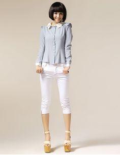 Women Summer New Slim-Fitting Seven Socks Cotton White Pants S/M/L@IM1118w