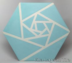 Origami Blue hex cement tile, in a 9x6 layout.