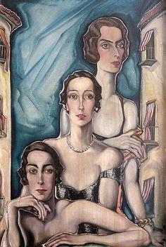 Three Spanish Women by Gyula Batthyány (Hungarian Art Deco, Art Nouveau, Spanish Woman, My Roots, Figure Painting, Illustrators, Mona Lisa, Game Of Thrones Characters, Princess Zelda