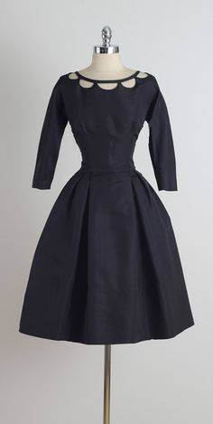 Vintage 1950s Nathan Strong Black Silk Dress