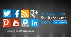 High Resolution Customizable Social Media Icon Set .PSD