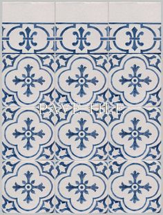 Monet's classic blue and white tiles from Rouen. Hand decorated on a European hand made earthenware terra cotta tile with white opaque glaze, the rich blues against the white, lightly crackled old world tile are clean and elegant. Cuisine de Monet, due to it's vintage elements yet geometric motifs, lends itself beautifully to a modern or traditional decor.