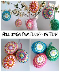 Use this free pattern to create cute and colourful crochet easter eggs. Multi-coloured or daisy patterned, these will look great as part of your easter decorations! #CrochetEaster