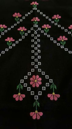 This Pin was discovered by şen Sashiko Embroidery, Folk Embroidery, Cross Stitch Embroidery, Cross Stitch Art, Cross Stitch Borders, Cross Stitch Patterns, Palestinian Embroidery, Free To Use Images, Prayer Rug