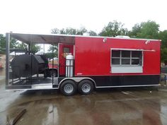 Concession Trailer 8.5'x26' Red and Black - Custom Smoker Kitchen (With Appliances) - Concession Trailers - Categories