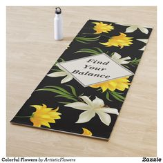 Shop Colorful Flowers Yoga Mat created by ArtisticFlowers. Floral Flowers, Colorful Flowers, White Flowers, Flower Patterns, Flower Designs, Flowers Black Background, Envelope Labels, Different Flowers, Flower Backgrounds