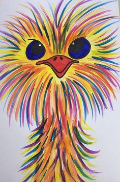 Zie YouTube: KidsArtParty met filmpje: regenboogstruisvogel Rock Painting Designs, Pretty Art, Stone Painting, Rock Art, Painted Rocks, Crafts For Kids, Drawings, Youtube, Animals