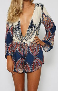 Fashion Plunging Neck Printed Long Sleeve Romper
