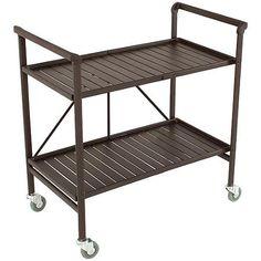 Cosco Outdoor Folding Metal Slat Serving Cart, Sandy Brown $44 19.29 x 32.68 x 33.66 IN