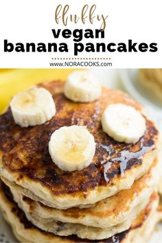 Wondrously Fluffy Vegan Banana Pancakes, incredibly easy to make with a mashed banana and a handful of pantry staples! Made in 1 bowl. Vegan Banana Pancakes, My Recipes, Cooking Recipes, Vegan Blogs, Delicious Vegan Recipes, Pantry, Clean Eating, Brunch, Breakfast