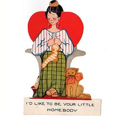 Vintage 1950s Valentine Greeting Card Woman Knitting Socks with Cat
