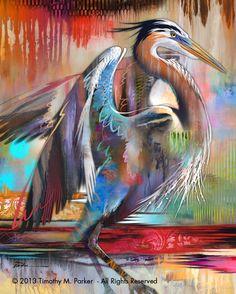 "Abstract Bird Painting, Contemporary Art, ""Blue Heron Colors"" Artist Tim Parker - Art2D Gallery, Modern Art Original Paintings and Fine Art Prints"