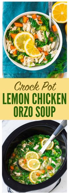 crockpot meals Slow Cooker Lemon Chicken Orzo Soup with Spinach and Dill. Easy, healthy with SO MUCH FLAVOR! A great way to get your vegetables, lean protein, and whole grains all in one. Youll make this simple crockpot meal again and again. Recipe at Crock Pot Recipes, Crock Pot Soup, Slow Cooker Soup, Healthy Crockpot Recipes, Slow Cooker Recipes, Chicken Recipes, Crockpot Meals, Healthy Meals, Lean Recipes