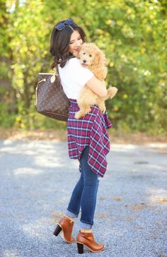 Cute fall outfit (and puppy) | The Sweetest Thing