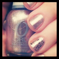 Rose gold nail polish! Love it and have had so many compliments on it this week! Orly Rage w/ Sephora by OPI Traffic Stopper Copper top coat on accent nail