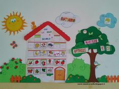 maestra Nella: cartellone presenze e calendario Classroom Setup, Classroom Displays, Activities For Kids, Crafts For Kids, School Bulletin Boards, Class Decoration, Learning Resources, Classroom Organization, Pre School